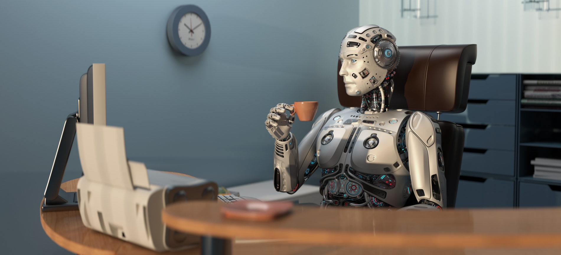 Futuristic robot holding a cup of tea while sitting in the office