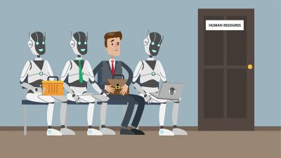 A human sits nervously among robot androids sitting in office corridor waiting for job interview