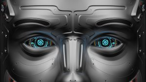 Futuristic AI robot eyes stare at you.