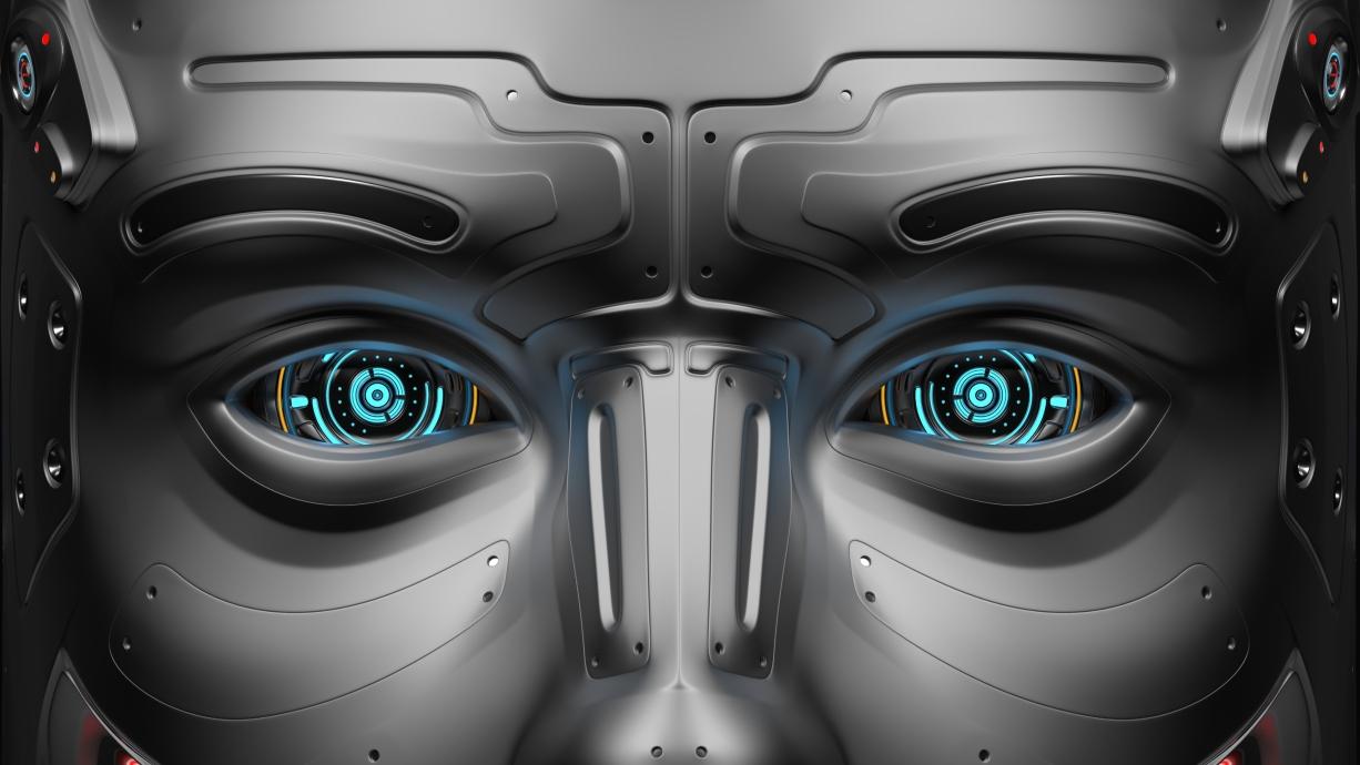 Futuristic AI robot eyes stare at you.