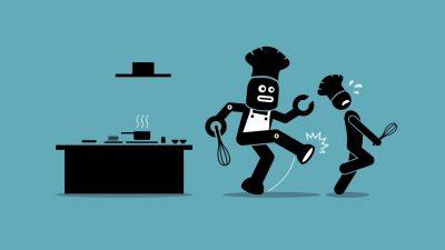 Robot chef kicks away a human chef from doing his job at kitchen.